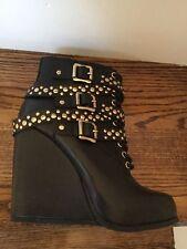 New $189 BCBG Larissa Black Leather Studded Wedge Booties~Boot sz 9.5M