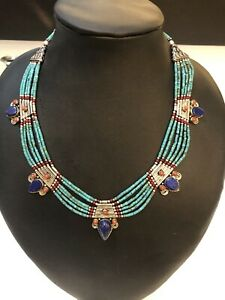 Stunning Vintage Tribal Tibet Silver Turquoise Coral Lapiz Necklace