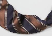 Domenico Vacca Brown & Navy Striped 9 Fold 100% Silk Made in Italy Necktie