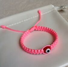 Baby Girl  Pink String Bracelet, Red Glass Evil Eye, Good Luck Charm.