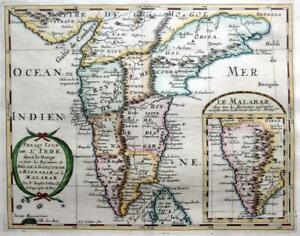INDIA L'INDE MALABAR BY NICOLAS SANSON c1652 GENUINE ANTIQUE ENGRAVED MAP