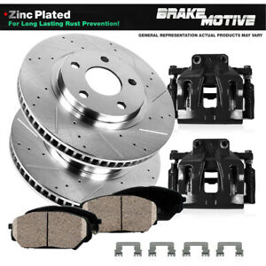 Front Calipers and Rotors + Brake Pads For 2007 - 2016 2017 2018 Jeep Wrangler