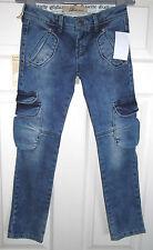 John Galliano (£ 155rrp) Ragazze Blu jeans-8 ANNI (128cm) Tall-Tapered LEG-Bnwt