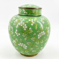 "Antique Chinese Cloisonne Vase Ginger Jar Green Floral 8"" Tall Brass Enamel"