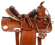 CRYSTAL BLING LEATHER WESTERN BARREL RACING TRAIL HORSE LEATHER SADDLE 14 15 16
