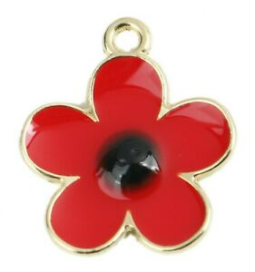 5 GOLD PLATED ENAMEL RED POPPY PENDANTS CHARMS 21mm~Jewellery~Awareness (98D) UK