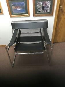 Wassily style Mid-Century Modern Black Leather Chrome Chair professional sleek