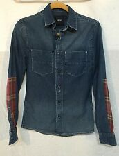 AMAZING DENIM SHIRT TOP with FLANNEL DETAIL by ASOS size XXS