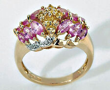 10k Yellow Gold PINK & YELLOW SAPPHIRE RING Size 7 - 4.5 Grams Gold