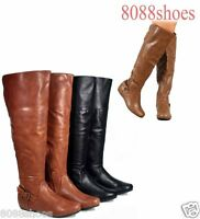 Women's Fashion Low Wedge Round Toe Over The Knee Boots Shoes Size 5.5 - 10 NEW