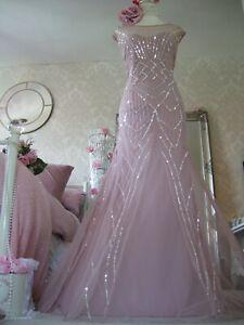 Monsoon stunning beaded blush Gatsby inspired size 18 maxi dress New tags