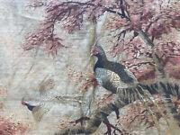 Tapiz XIX Siglo Asiática Antigua Tapiz Asian 19th Pájaros Firmada