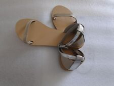ASOS Feather Leather Flat Sandals Nude  Size UK4