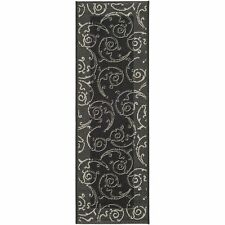 Indoor/Outdoor Oasis Black/Sand Runner Rug 2' 3 x 12'
