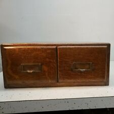 Weis Antique Early 1900s Oak 2 Drawer Library Card Catalog Wood File Cabinet