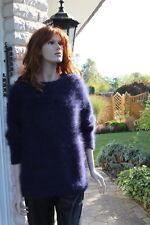 100% franz. Langhaar ANGORA Pullover Sweater Handstrick DUNKELBLAU, LUXUS PUR!!!