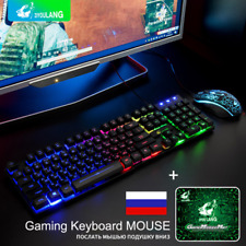 T5 Rainbow Backlight PC Gamers USB Ergonomic Gaming Keyboard + Mouse + Mouse Pad
