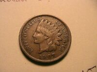 1907 Indian Head Cent Nice VF+ Very Fine Original Brown USA 1 Small Penny Coin