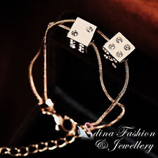 18K Rose Gold Plated Simulated Diamond Shiny Double Bands Double Dices Bracelet