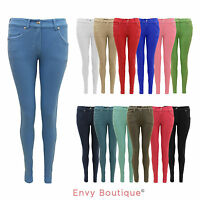 UK Ladies Womens Skinny Jeans Stretchy Jeggings Coloured Trousers Sizes 8-14
