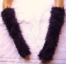 Arm Warmers Fingerless Gloves Aubergine Bundles Of Fluff On Your Arms Boucle Fur