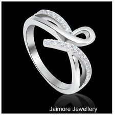 Infinity RING Ribbon Eternity Dress 925 Sterling Silver Rhodium US 7 + Free Gift