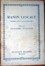 1939 libretto teatro - MANON LESCAUT - Giacomo Puccini -Edizioni Ricordi