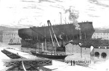 ITALY. Great Italian Citadel-ship Lepanto, ready for Launching at Livorno, 1883