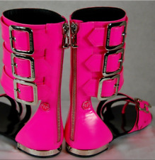 PHILIPP PLEIN LTD BUCKLED PINK FLAT GLADIATOR WOMEN SANDALS BOOTS EU 36.5 US 6.5