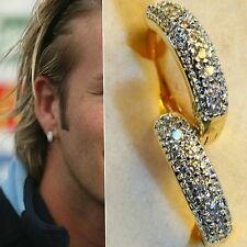 Mens18k Yellow Gold Filled Simulated Diamonds Pave Hoop Earrings New Design Uk