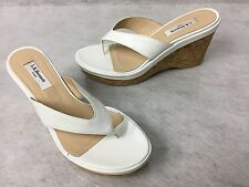 LK Bennett White Leather Cork Wedge Laura Sandals sz EU 39 US 8.5M NEW $285