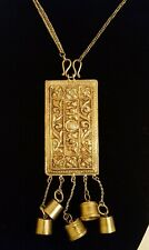 or Middle Eastern Pendant Necklace Antique Vintage Silver Plate Repousse Asian