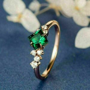 2.0Ct Princess Cut Green Emerald Solitaire Engagement Ring 14K Rose Gold Finish
