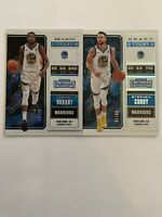 2018-19 Contenders 2 card Lot Season Ticket Kevin Durant /15 Stephen Curry /99