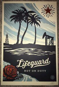 Shepard Fairey Life Guard On Duty Print 24x36 Signed Poster Banksy Kaws Pejac