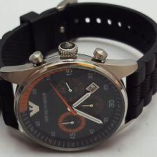 EMPORIO ARMANI UOMO WATCH ar5878 Cinturino in Silicone Nero Cronografo