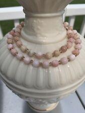 Tiffany & Co 14K Natural Peruvian Pink Opal Bead Graduated Necklace 21 Inch RARE