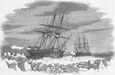 BARROWS STRAITS. Enterprise & Investigator, ice, antique print, 1849
