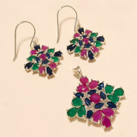 Natural Emerald Ruby Sapphire Earrings Pendant 925 Sterling Silver Jewelry Gifts