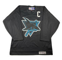 CCM San Jose Sharks Jersey NHL Size M Made In Canada Black Vintage #69