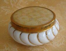 Vintage Matson Porcelain Silk Top Twist Gold & White Powder Trinket Jewelry Box
