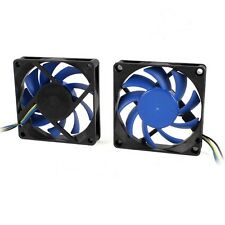 4 Pin 7cm 70mm x 15mm PC Computer Case CPU Cooler Cooling Fan Black/Blue Blades