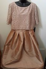 R&M Richards NWT Womens Champagne Color Formal Prom Evening Party Dress Size 16