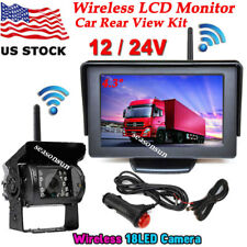 """12V-24V 4.3"""" Wireless LCD Monitor Rear View System +Backup Camera for Bus Truck"""