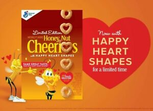 General Mills 10.8 oz HONEY NUT CHEERIOS with Happy Heart Shapes Limited Edition