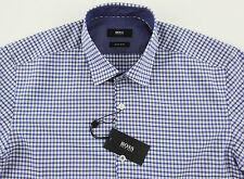 Men's HUGO BOSS Blue White Micro Plaid MAIK Shirt S Small NWT NEW $155+