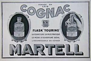PUBLICITÉ DE PRESSE 1926 LE COGNAC MARTELL FLASK TOURING