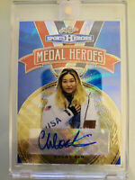 2018 Leaf Metal Sports Heroes Chloe Kim Autograph Auto Blue Wave Refractor #8/10