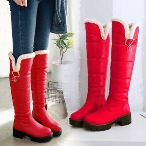 Winter Fur Lined Warm Womens Round Toe Chunky Heel Platform Snow Knee High Boots