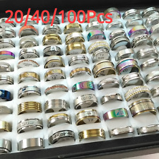 20-100Pcs Fashion Mix Stainless Steel Rings Party Wedding Ring Style Jewelry US